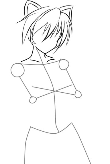 как нарисовать девушку аниме с кошачьими ушками шаг 4