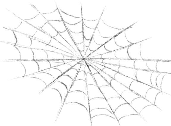 как нарисовать паутину шаг 4