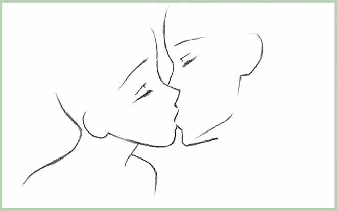 как нарисовать поцелуй шаг 5
