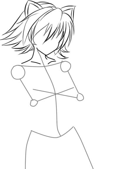 как нарисовать девушку аниме с кошачьими ушками шаг 5