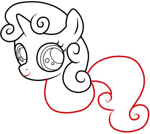 как нарисовать пони крошку бель шаг 5