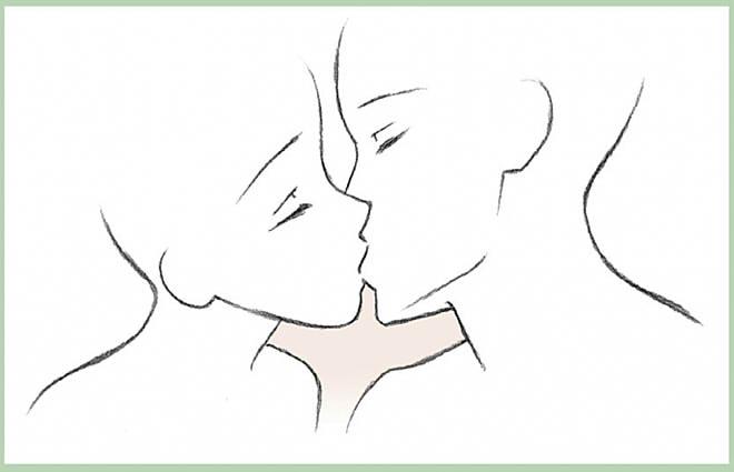 Поцелуй девушки и парня аниме