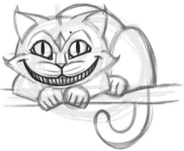 как нарисовать чеширского кота шаг 6