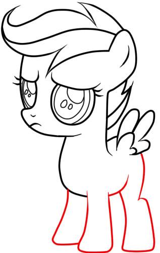 как нарисовать пони скуталу поэтапно