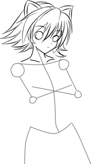 как нарисовать девушку аниме с кошачьими ушками шаг 6