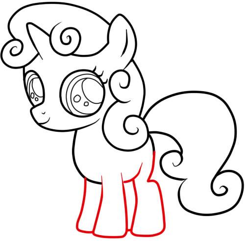 как нарисовать пони крошку бель шаг 6
