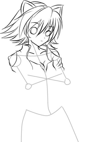 как нарисовать девушку аниме с кошачьими ушками шаг 7