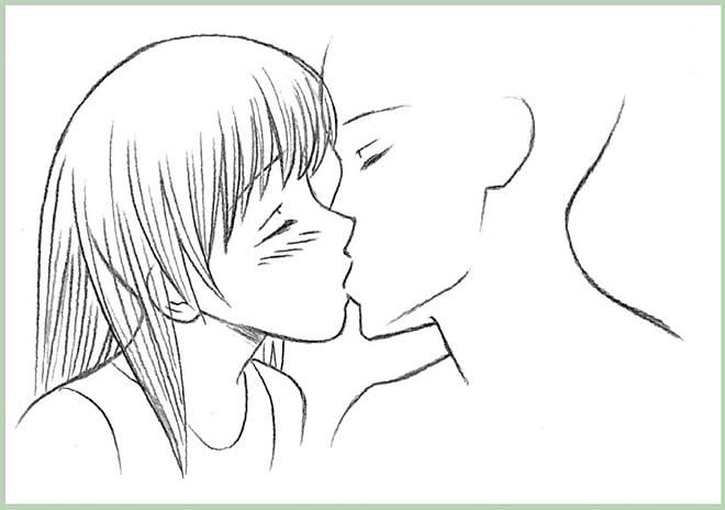 как нарисовать поцелуй шаг 7
