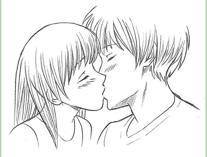 как нарисовать поцелуй шаг 8