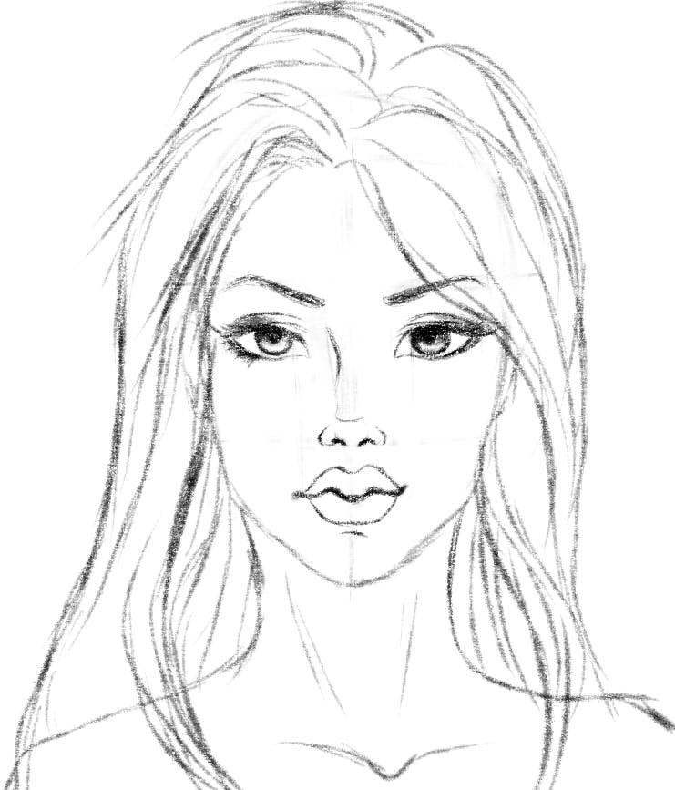 Картинки для срисовки лёгкие и красивые девочки