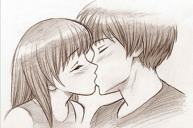 как нарисовать поцелуй шаг 9