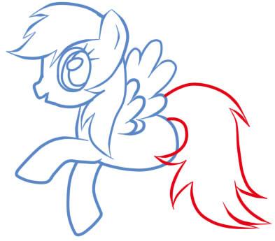 как рисовать пони радугу шаг 9