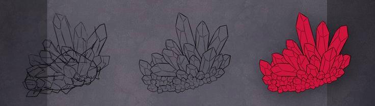 как нарисовать красные кристаллы 1