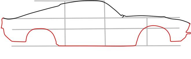 как нарисовать форд мустанг шаг 3