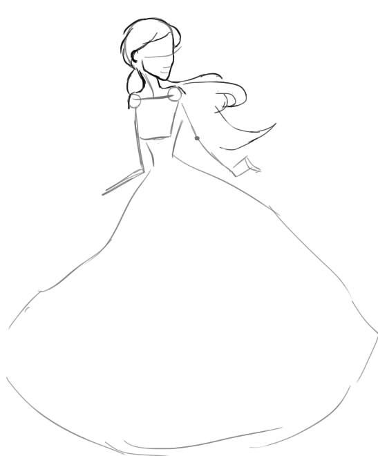 как нарисовать девушку в свадебном платье