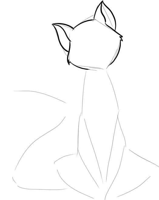как нарисовать удивленного кота