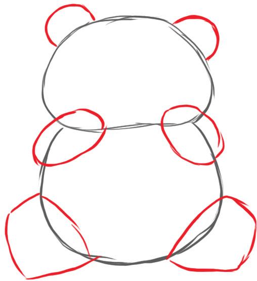 как нарисовать панду шаг 2