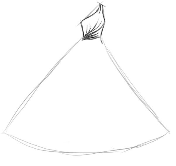 Красивые девушки платье как нарисовать