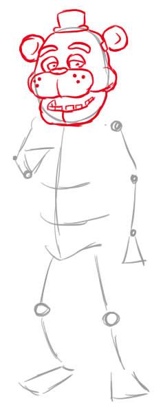 как нарисовать мишку фредди поэтапно