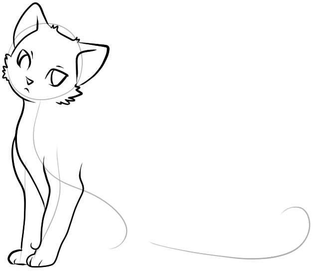 как нарисовать грустную кошку