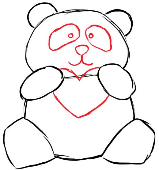 как нарисовать панду шаг 3