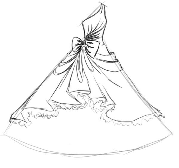 Рисунки свадебные платья карандашом