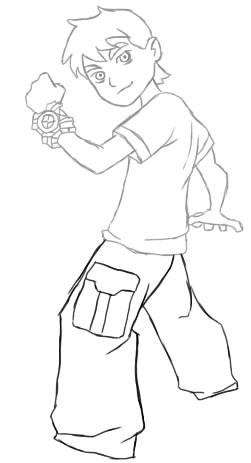 как нарисовать бен тена шаг 5