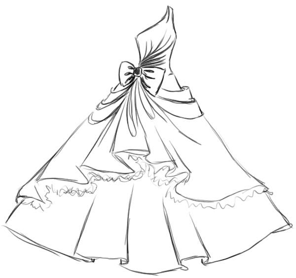 Как рисовать свадебные платья поэтапно
