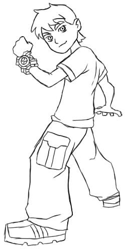 как нарисовать бен тена шаг 6