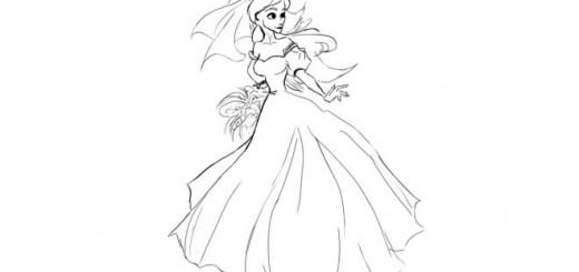 Рисунки для срисовки девушки в платье