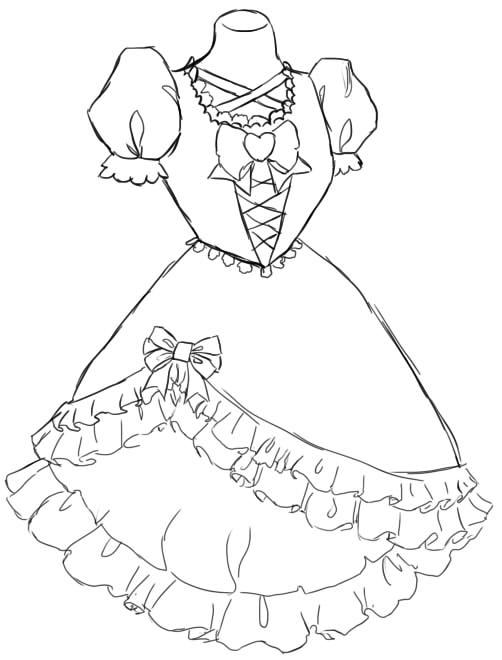 как нарисовать красивое платье