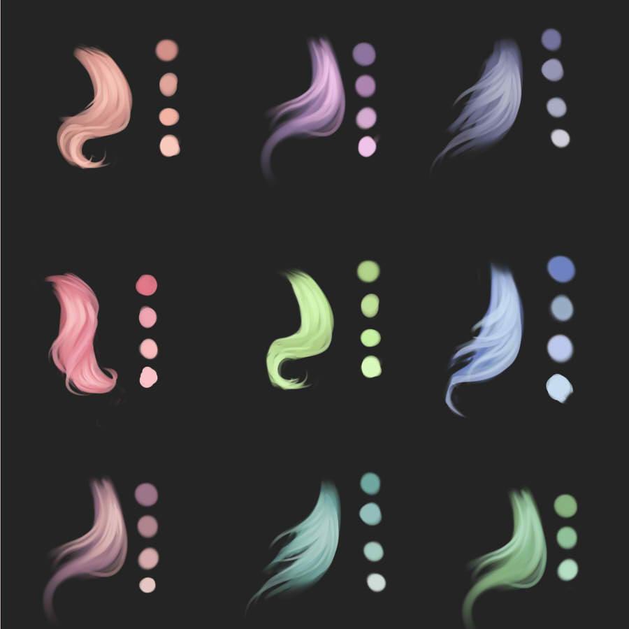 палитра волосы Photoshop SAI