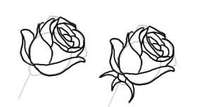 рисунок розы легко