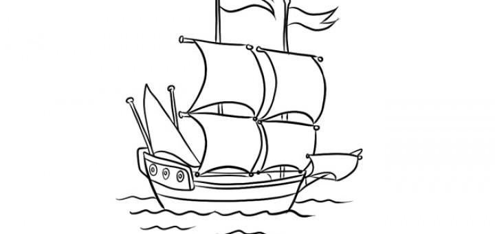 Как нарисовать корабль на море поэтапно 85