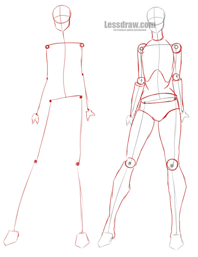 Как рисовать девушку в платье в полный рост поэтапно