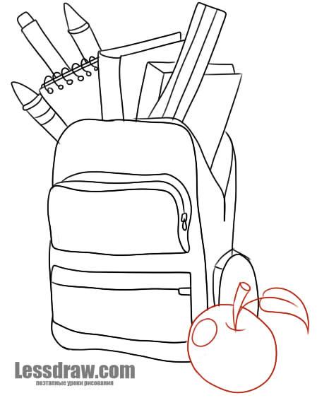 Нарисовать школьные принадлежности карандашом поэтапно