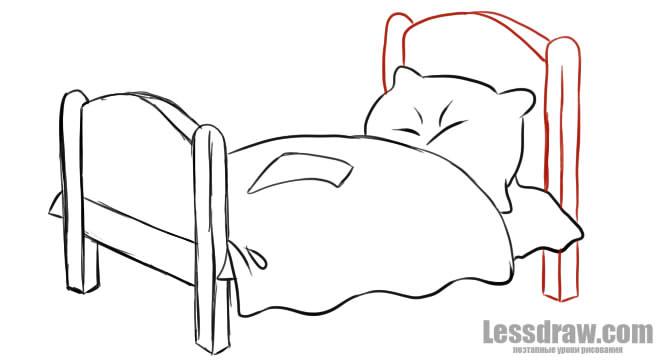как нарисовать кровать карандашом поэтапно