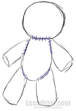 Как нарисовать Куклу Вуду поэтапно