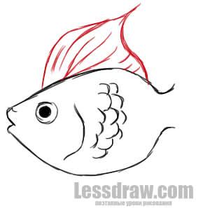 как нарисовать золотую рыбку поэтапно карандашом
