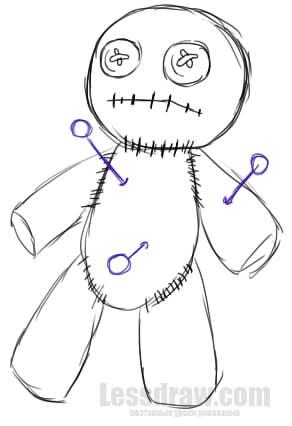 Как нарисовать Куклу Вуду на Хэллоуин