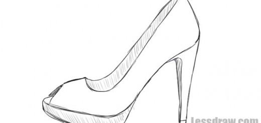 Как нарисовать туфли поэтапно карандашом