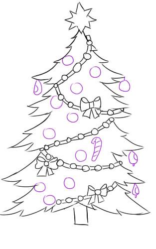 Как нарисовать елку на Новый год легко