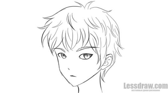 Мальчик аниме поэтапно карандашом