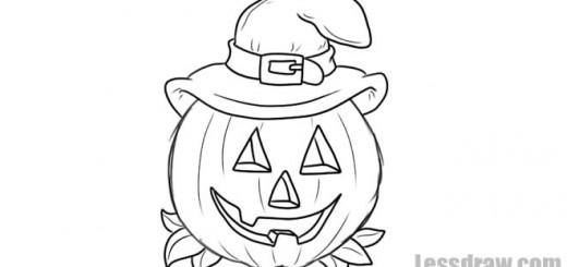 Как нарисовать тыкву в шляпе на Хэллоуин