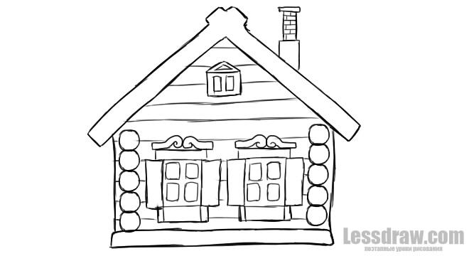 Рисунок на тему домик в деревне