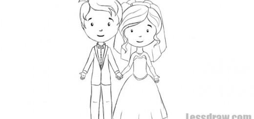 как нарисовать жениха и невесту