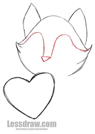 Как нарисовать котика с сердечком
