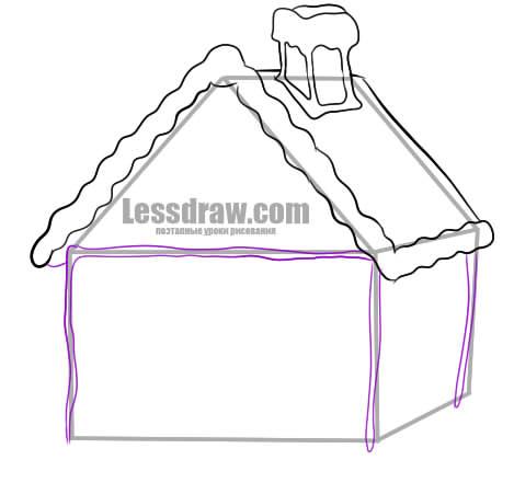 Как нарисовать пряничный домик на Новый Год