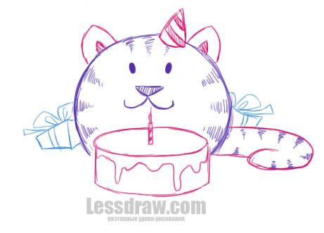 Как нарисовать открытку на День Рождения карандашом поэтапно