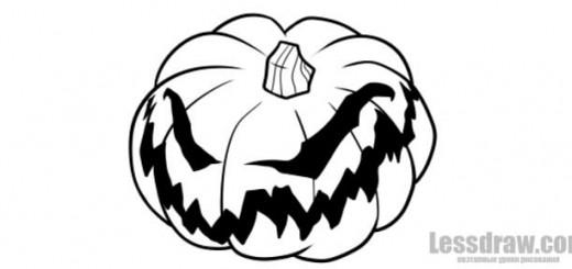 Как нарисовать страшную тыкву на Хэллоуин